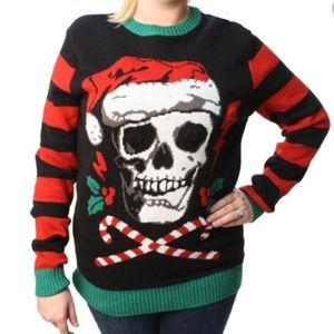 Ugly Goth Skull Christmas Sweater